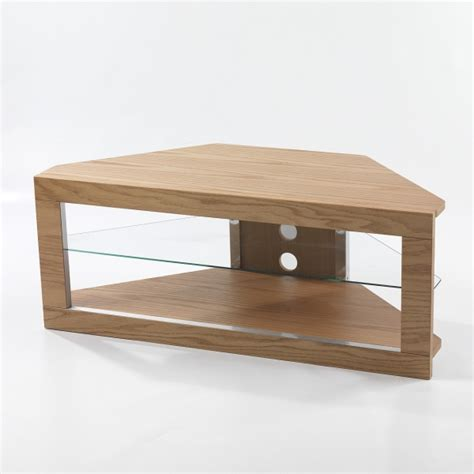 Corner Shelf Tv Stand by Large Flat Screen Oak Tv Corner Stand Glass Shelf Ebay