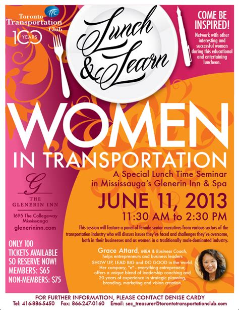 A Takeaway From The Toronto Transportation Club S Lunch Learn Women In Transportation Morai Luncheon Flyer Template