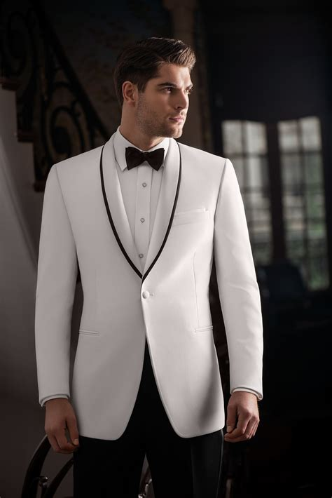 Slim fit White Tuxedo   Accent Lapel   Ike Behar