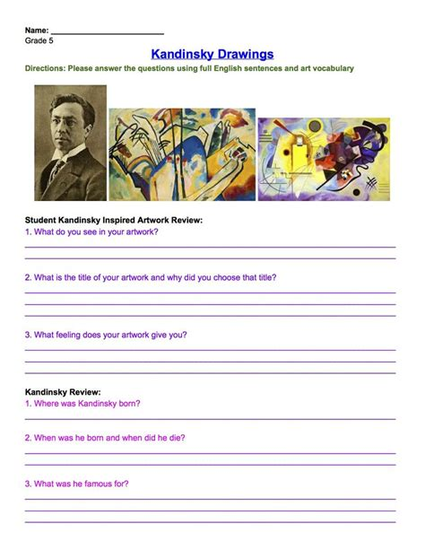 powerpoint tutorial worksheet kandinsky drawing review worksheet grade 5 art