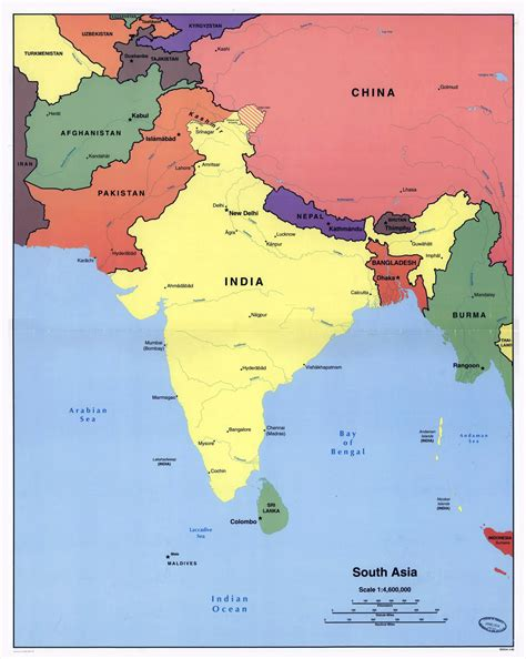 asia map with cities large detailed political map of south asia with major