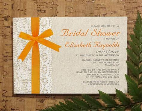 diy free printable bridal shower invitations orange bow lace bridal invitations bridal shower