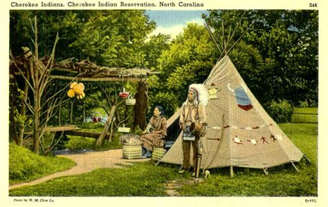 cherokee indian houses penny postcards from north carolina