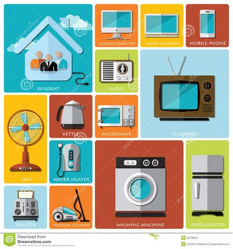 electronic design house electronic machine and house flat icon set stock vector