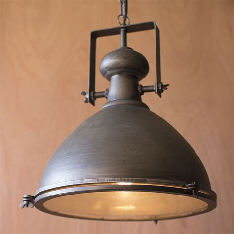 Rustic Pendant Lighting Kalalou Large Metal Pendant W Glass Cover Cll1130