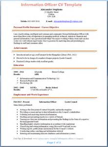 Curriculum Vitae Guidelines by Information Officer Cv Template Tips And Download Cv Plaza