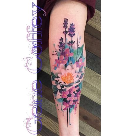 watercolor tattoos glasgow 14 splendid watercolor flower tattoos tattoodo