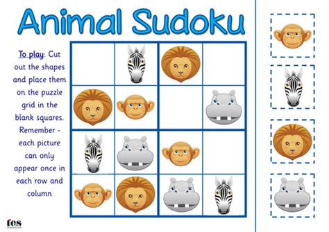 printable sudoku topical animal sudoku by tesspecialneeds teaching resources tes