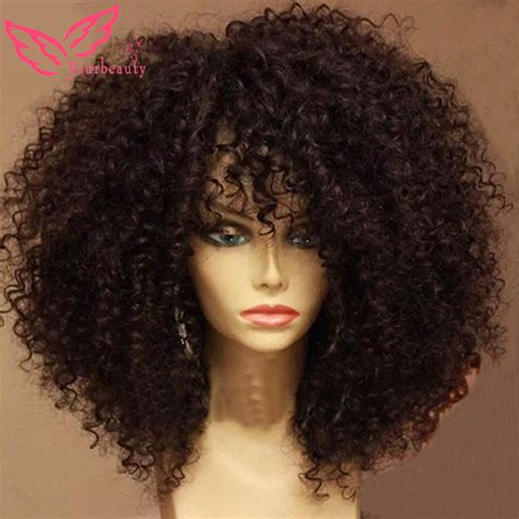 short curly peruvian weave lace front unprocessed curly afro wig virgin peruvian 100