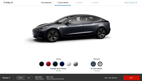 Tesla Configurator Tesla Model 3 Configurator Looks Like The Real Deal But