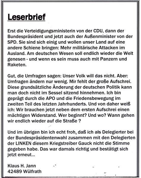 Leserbrief Schreiben Muster Widerstand Zu Milit 228 Rischen Attacken Im Ausland Leserbrief Klaus H Jann Aus W 252 Lfrath