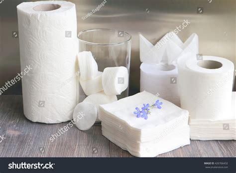 Tissue Towel white kitchen towel toilet paper tissue stock photo