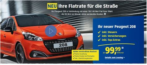 Auto Leasen Ohne Anzahlung Unter 100 österreich by Peugeot 208 Leasing Unter 100 Mit 1 1 Flat
