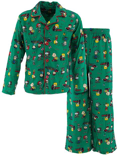 green peanuts christmas pajamas for boys