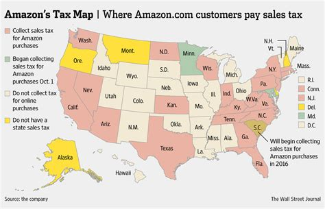 amazon tax amazon tax map states collecting tax on amazon purchases