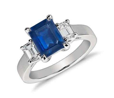 emerald cut sapphire and ring in platinum 8x6mm
