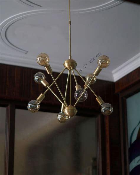 satin brushed brass atomic sputnik starburst light fixture mid century brushed brass sputnik starburst light by