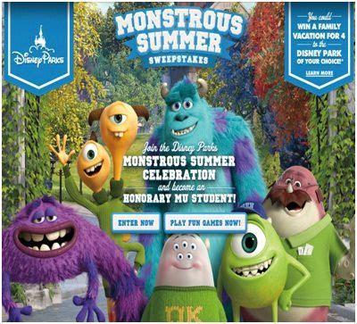 Disney Summer Sweepstakes - disney monstrous summer sweepstakes sweepstakesbible