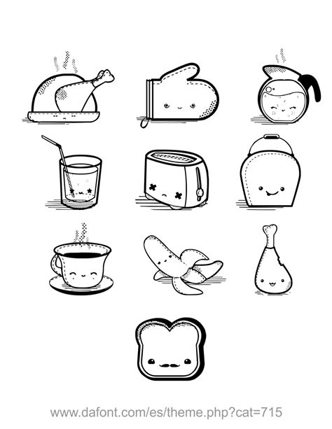 comida kawaii para colorear dibujos de comida dibujos