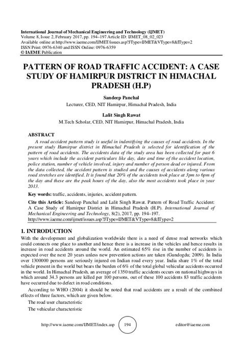pattern analysis case study pattern of road traffic accident a case study of hamirpur