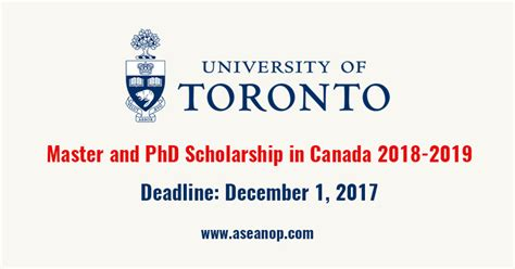 Mba In Canada With Scholarship by Of Toronto Canada 2018 2019 Master And Phd