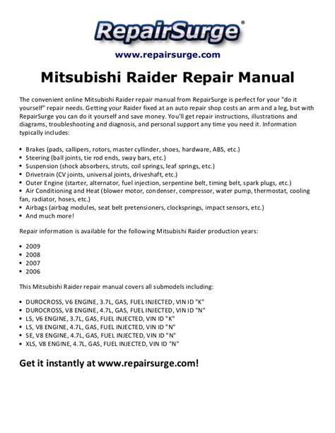 download car manuals pdf free 2009 mitsubishi raider user handbook service manual mitsubishi raider repair manual 2006 2006 mitsubishi raider information