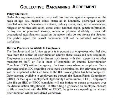 Union Letter Of Agreement collective bargaining agreement 5 free pdf doc