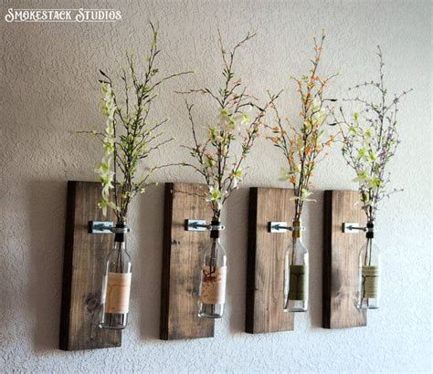 rustic home decor four wine bottle set home decor rustic wine bottle wall vase set of four rustic modern