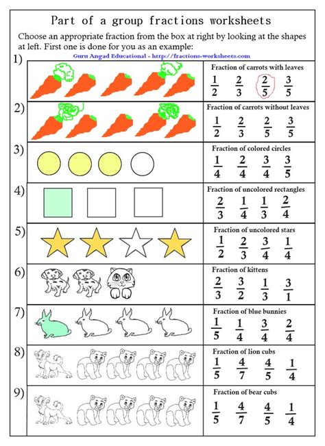 worksheets fractions of groups fractions of a worksheets free fractions worksheets for prek k 8 schools free math
