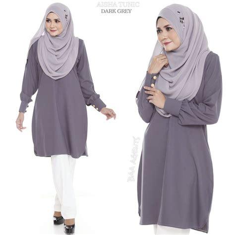 Blouse Muslim Grey Naura Pashmina aisha tunic ii mesra penyusuan saeeda collections