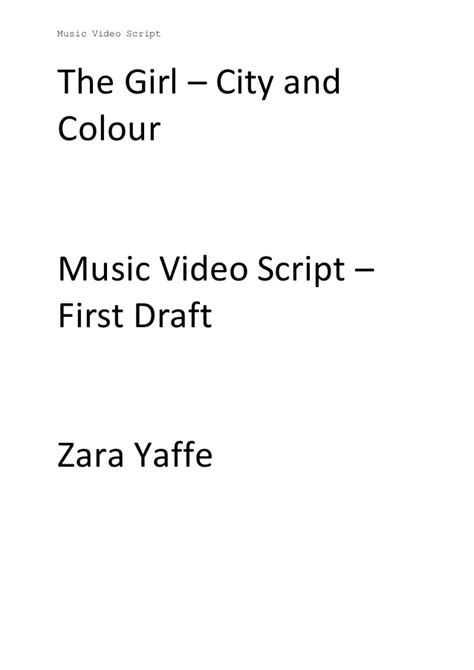 music video script template