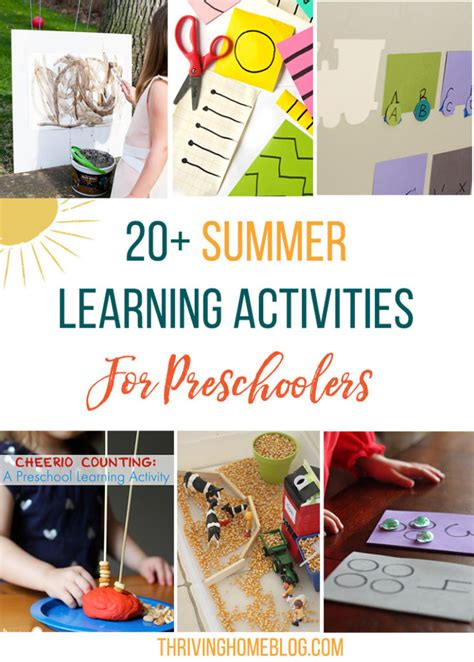 20 summer activities for preschoolers 20 summer preschool learning activities thriving home