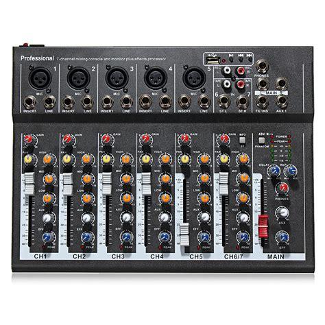 audio mixer console portable 7 channel professional live studio audio mixer