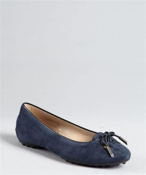 loafer style flats tod s navy suede cutout toe loafer style ballet flats in