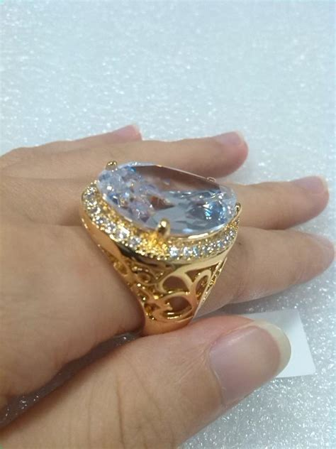 Big Rings With Big Stones Real Gold Plated Luxury Ring