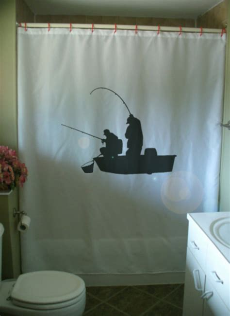 Fishing Shower Curtains Fishing Boat Shower Curtain Fishermen Cast Rod Net Fish