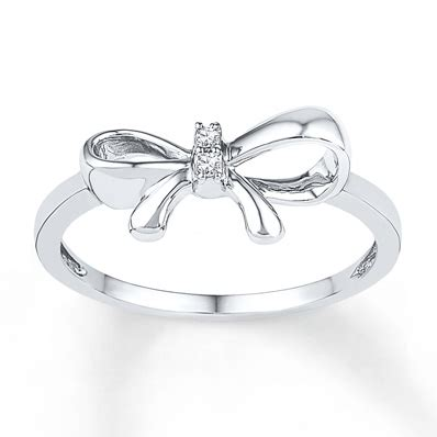 Silver Tapered Bow Ring jared bow ring accents sterling silver