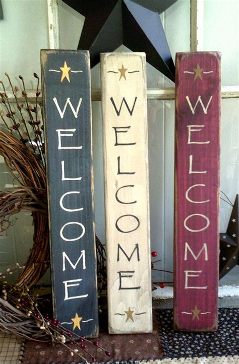 primitive country welcome friends wood star sign antique welcome sign vertical primitive wooden sign by