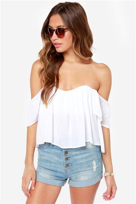 Sweet And Girly Shorts by Top White Top White Summer Top The Shoulder Top