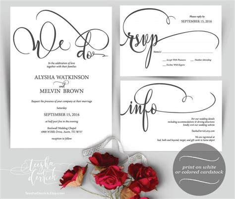 Where To Do Wedding Invitations by We Do Wedding Invitation Instant Printable
