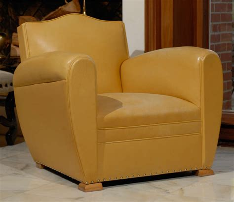 Yellow Club Chair Design Ideas Handsome Deco Club Chairs In Yellow Ochre Leather At 1stdibs