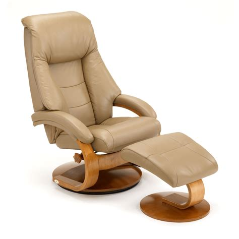 Leather Recliners With Ottoman Mac Motion Oslo 58 Series Leather Swivel Recliner And Ottoman Set In Sand Beyond Stores