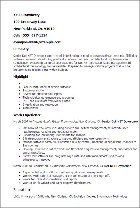 Vb Dotnet Programmer Cover Letter by Professional Senior Dot Net Developer Templates To Showcase Your Talent Myperfectresume