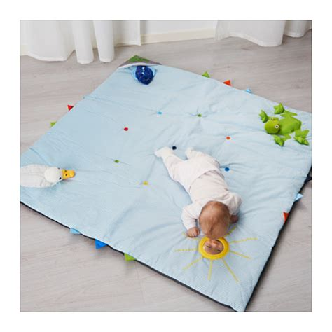 tappeto puzzle bimbi ikea leka play mat blue 118x118 cm ikea