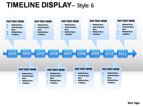 Timeline Display Style 6 Powerpoint Presentation Slides Timeline Graphics For Powerpoint