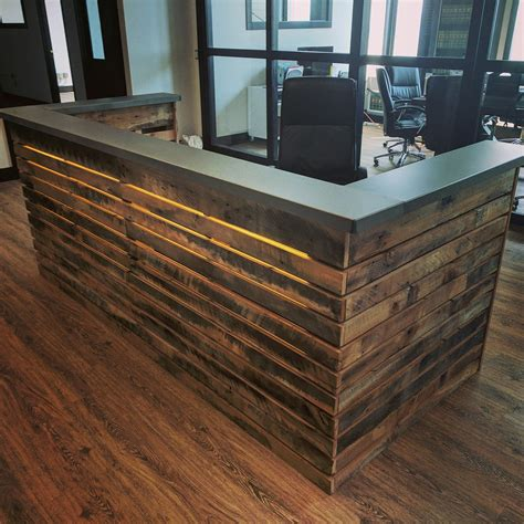 wood and steel desk made reclaimed wood slat and steel desk with led