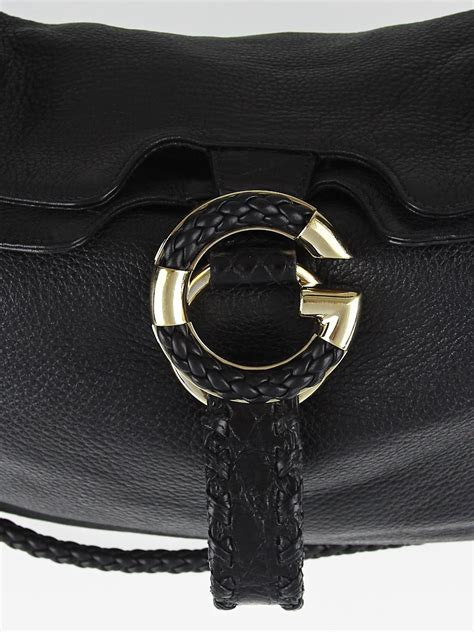 leather wave gucci black pebbled leather wave large hobo bag yoogi s closet