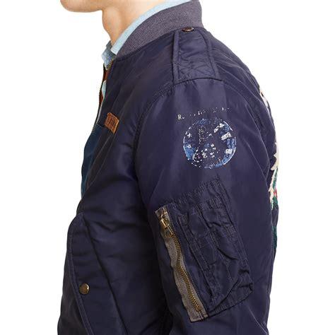 Jaket Bomber Kanvas Crew Bomber Patch Bordir ralph reversible bomber jacket in blue for lyst