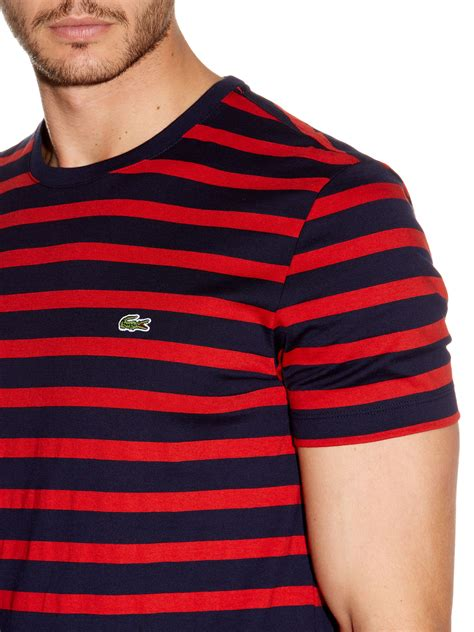New Lacoste Navy And Green Tshirt For lacoste striped t shirt in blue for lyst
