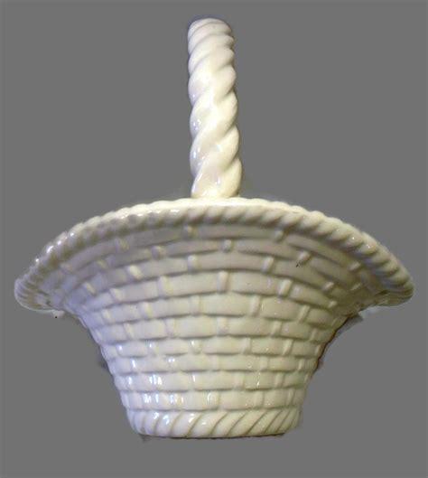 Baskets Handmade - vintage white ceramic easter basket handmade weave planter